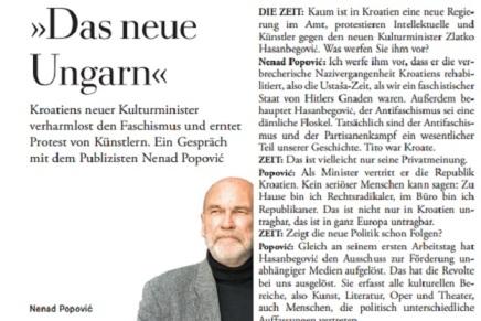 Nenad Popović za Die Zeit: Bojim se da će Hrvatska postati novaMađarska