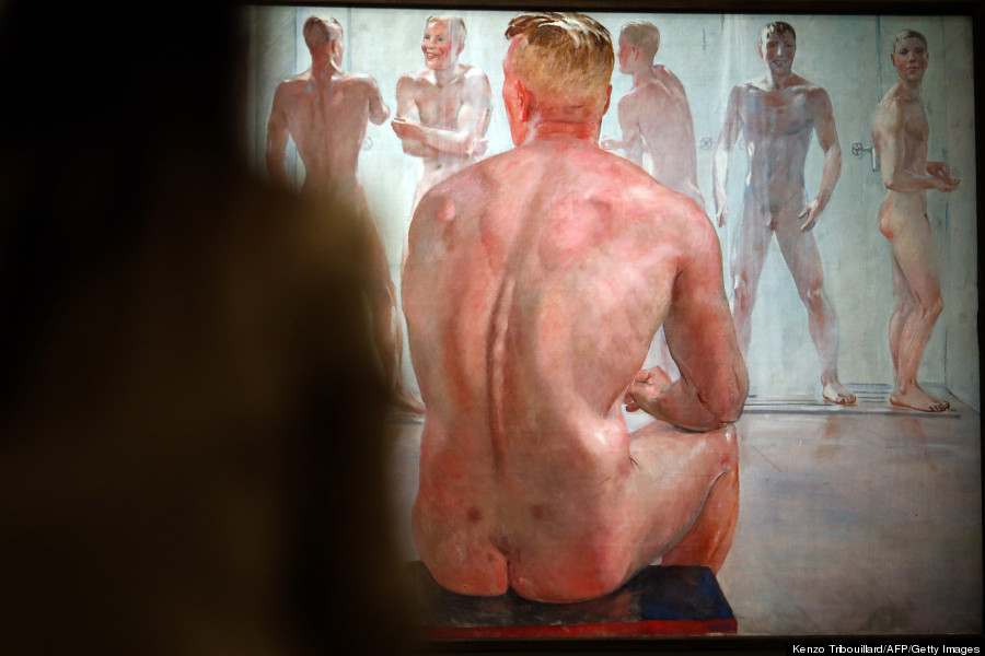 "A visitor looks at the painting ""La douche. Après la bataille"" (Shower, After the Battle) by Russian artist Alexendre Alexandrovitch Deineka on display during the ""Masculin/Masculin"" exhibition at the Orsay Museum on September 23, 2013 in Paris. AFP PHOTO / KENZO TRIBOUILLARD RESTRICTED TO EDITORIAL USE, MANDATORY CREDIT OF THE ARTIST, TO ILLUSTRATE THE EVENT AS SPECIFIED IN THE CAPTION (Photo credit should read KENZO TRIBOUILLARD/AFP/Getty Images)"