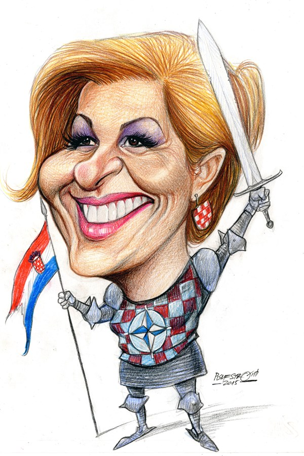 Karikatur-Kolinda Grabar Kitarovic- erste kroatische präsidentin. Petar Pismestrovic.