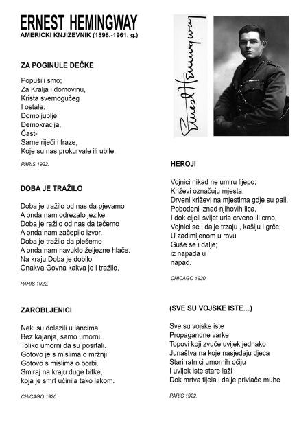 Ernest Hemingway: Za poginule dečke i drugepjesme